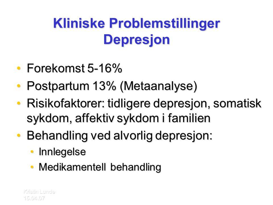 Kliniske Problemstillinger Depresjon