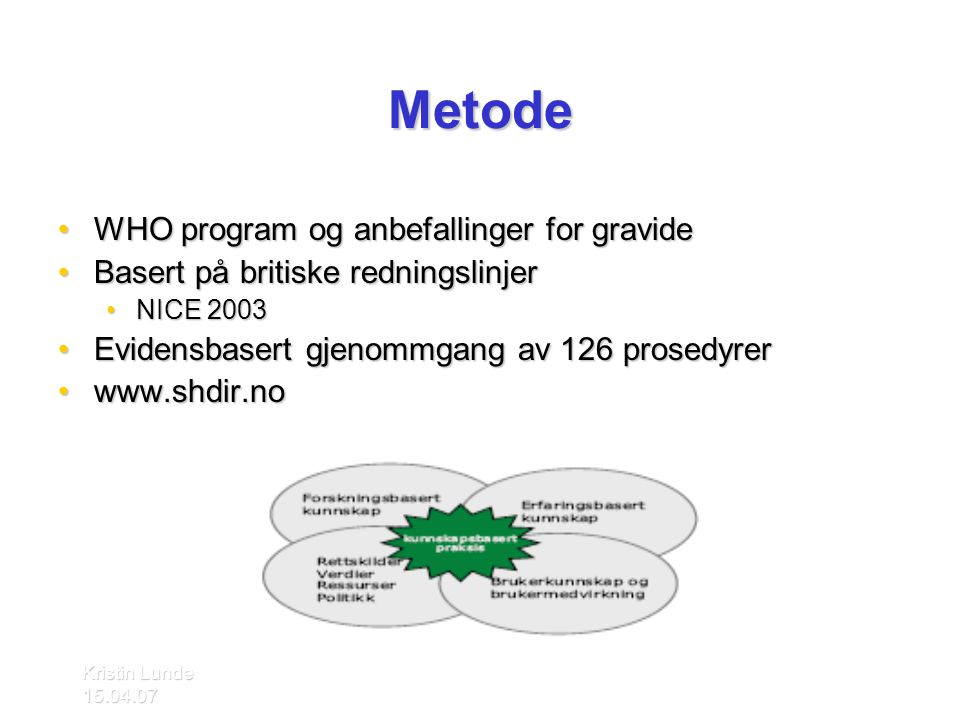 Metode WHO program og anbefallinger for gravide