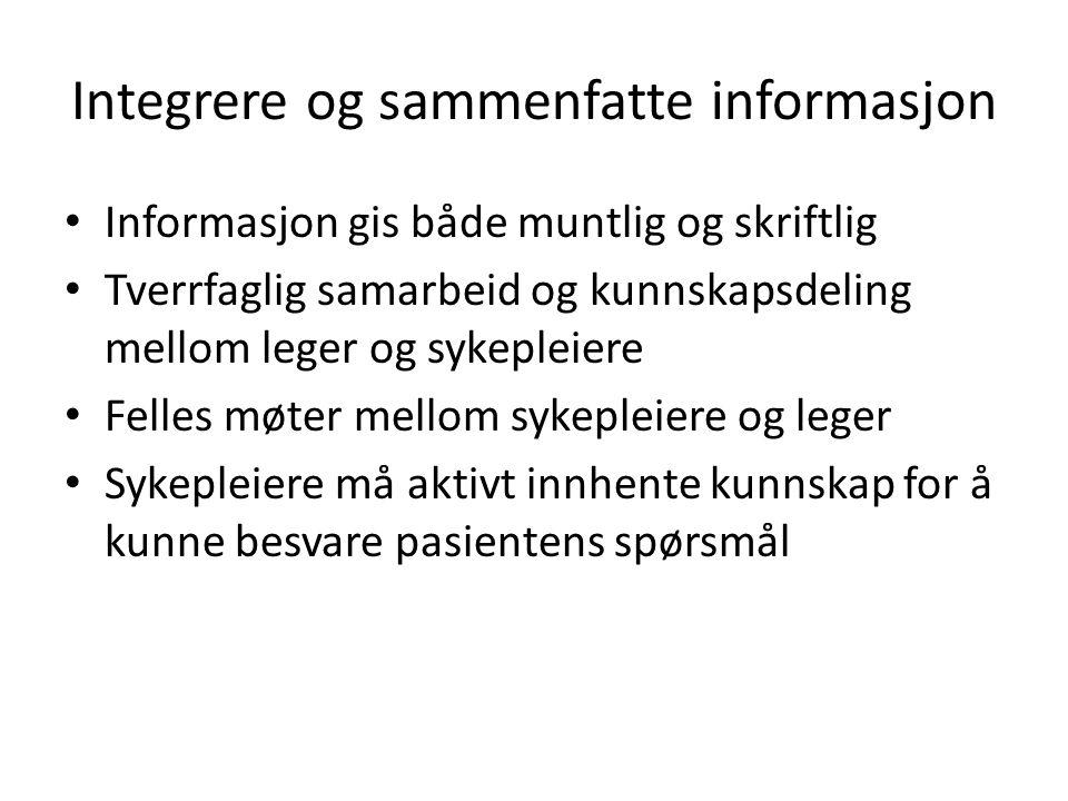 Integrere og sammenfatte informasjon