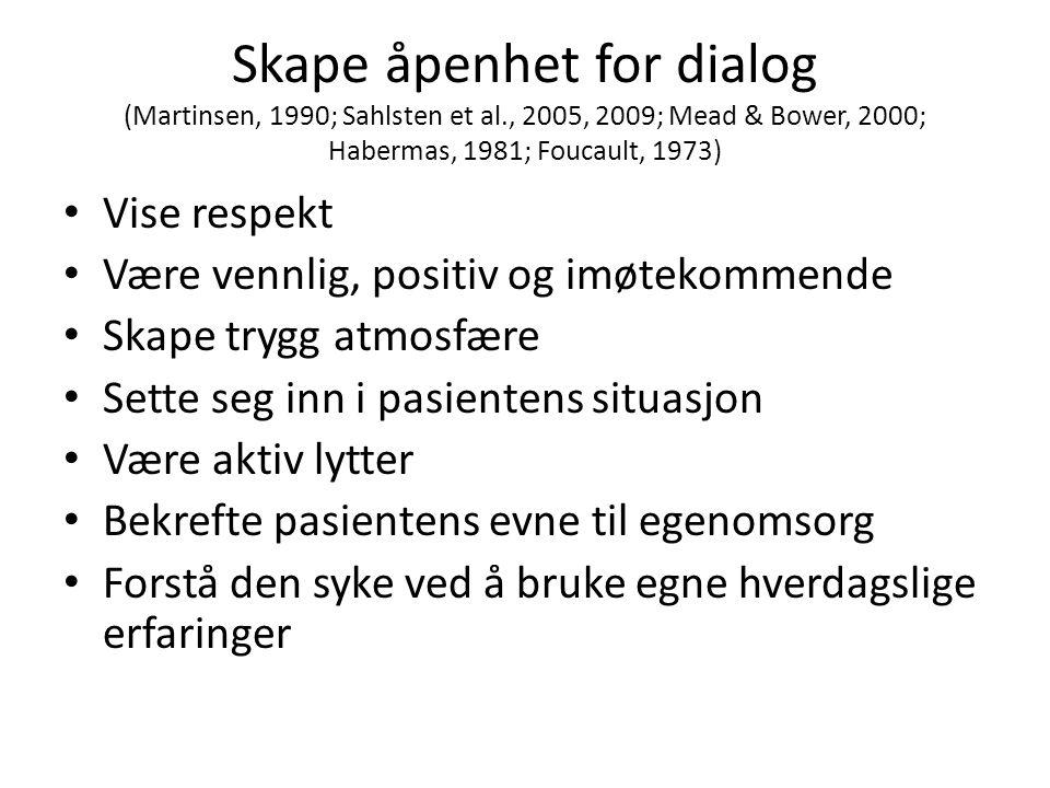 Skape åpenhet for dialog (Martinsen, 1990; Sahlsten et al