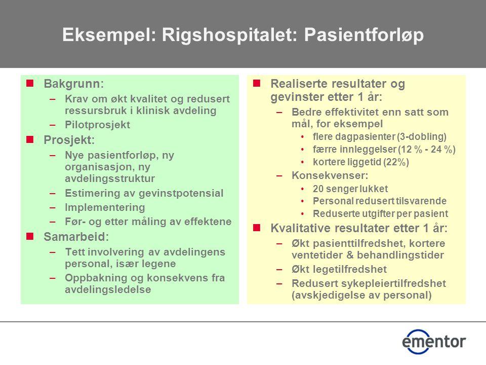 Eksempel: Rigshospitalet: Pasientforløp