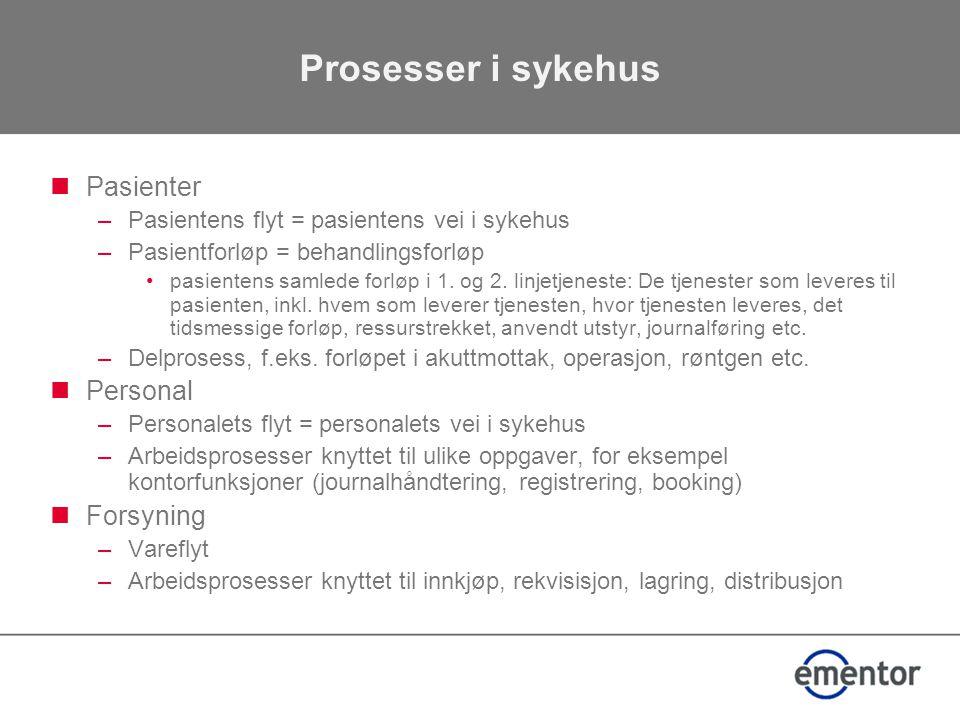 Prosesser i sykehus Pasienter Personal Forsyning