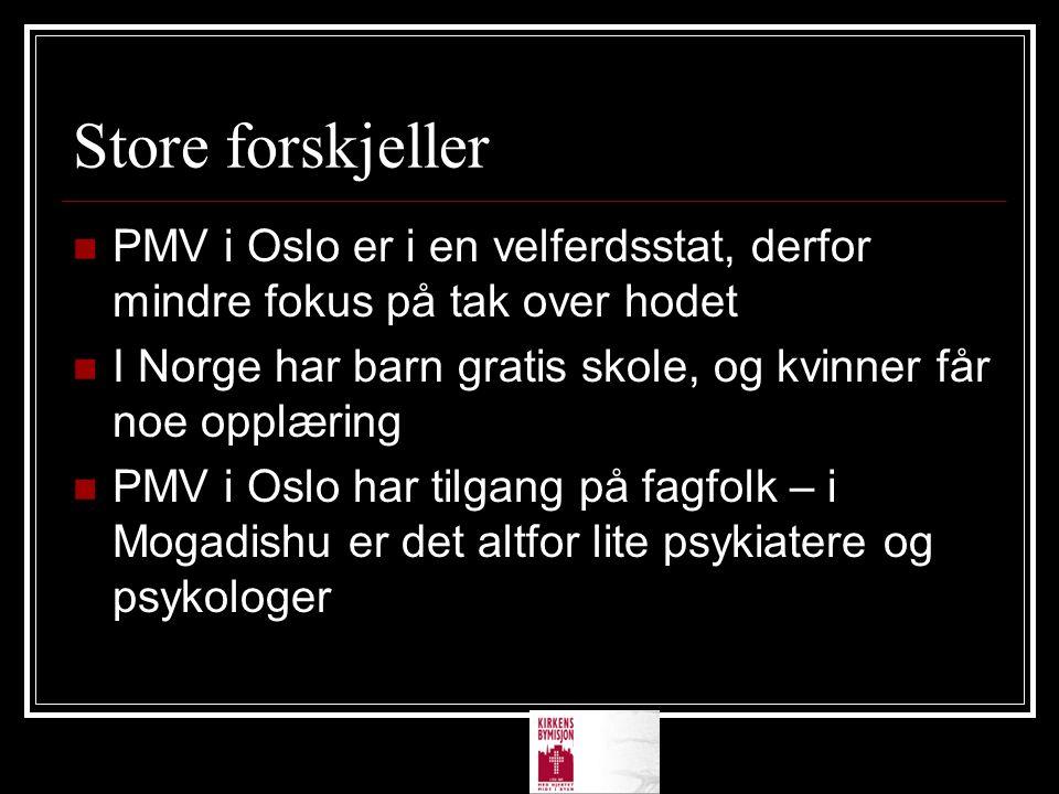 Store forskjeller PMV i Oslo er i en velferdsstat, derfor mindre fokus på tak over hodet.