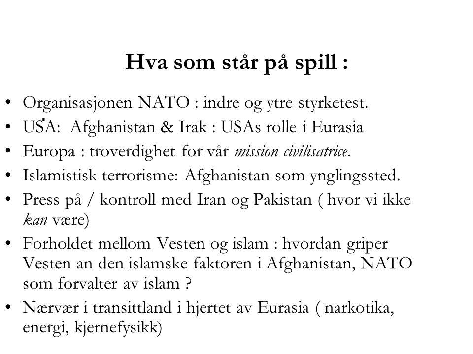 Hva som står på spill : Organisasjonen NATO : indre og ytre styrketest. USA: Afghanistan & Irak : USAs rolle i Eurasia.