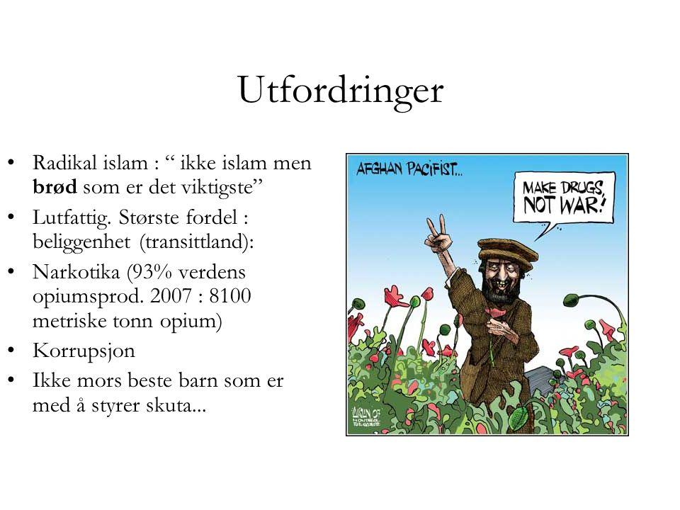Utfordringer Radikal islam : ikke islam men brød som er det viktigste Lutfattig. Største fordel : beliggenhet (transittland):