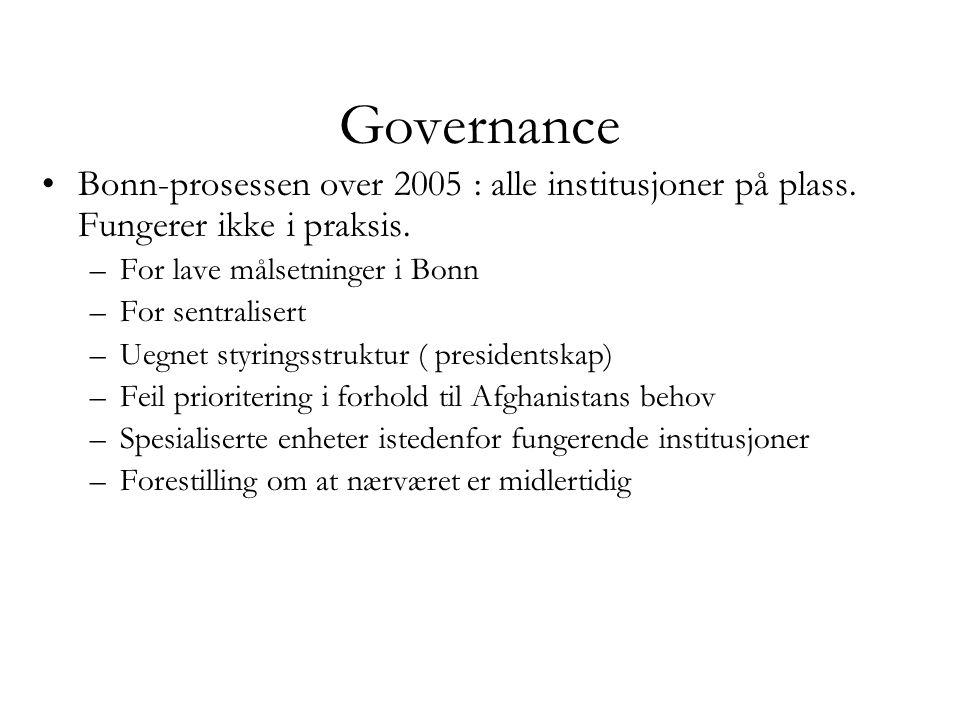 Governance Bonn-prosessen over 2005 : alle institusjoner på plass. Fungerer ikke i praksis. For lave målsetninger i Bonn.