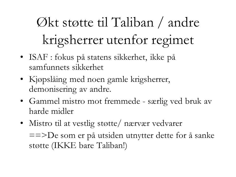 Økt støtte til Taliban / andre krigsherrer utenfor regimet