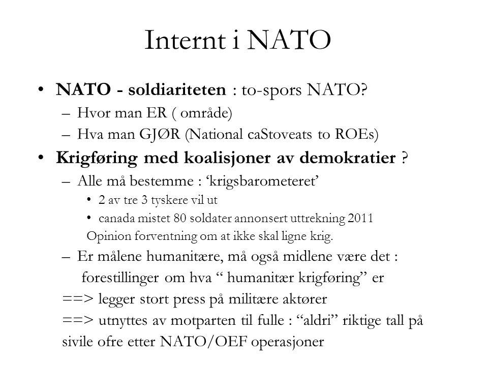 Internt i NATO NATO - soldiariteten : to-spors NATO