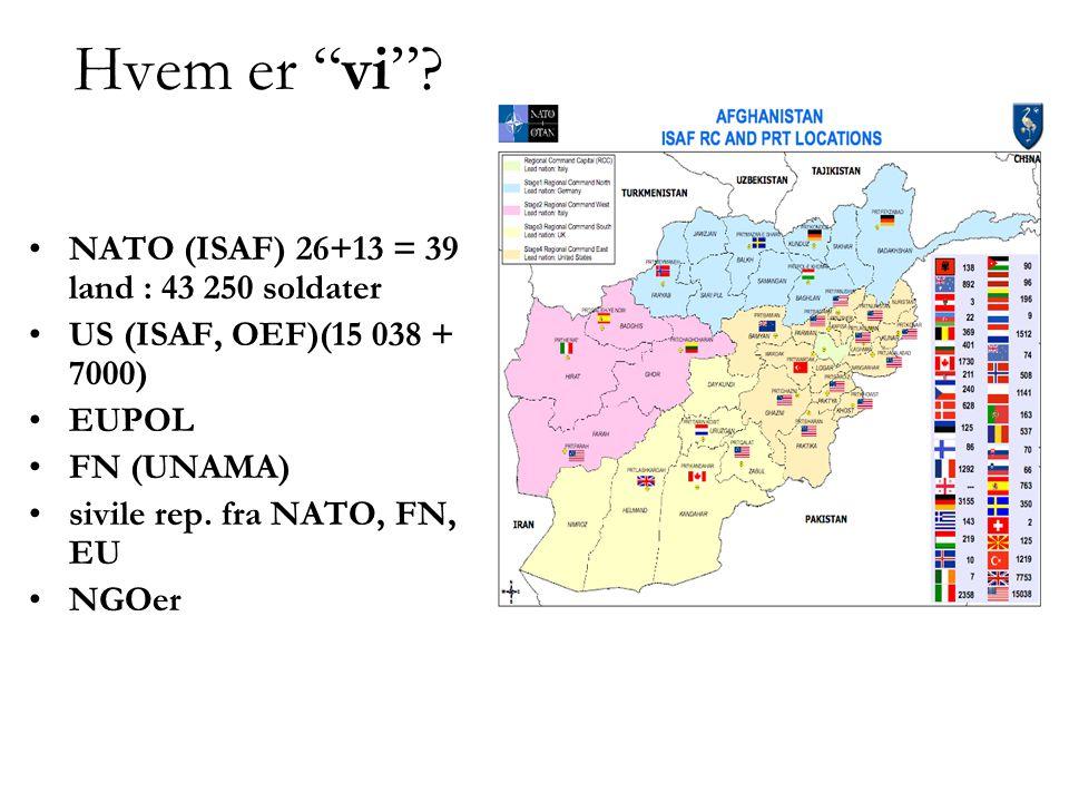Hvem er vi NATO (ISAF) 26+13 = 39 land : 43 250 soldater