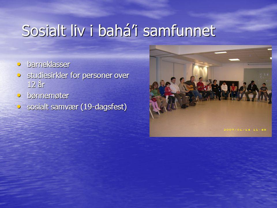 Sosialt liv i bahá'i samfunnet