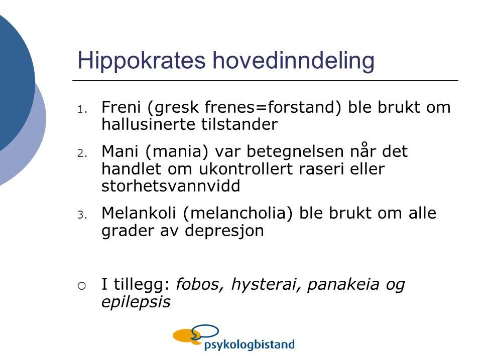 Hippokrates hovedinndeling