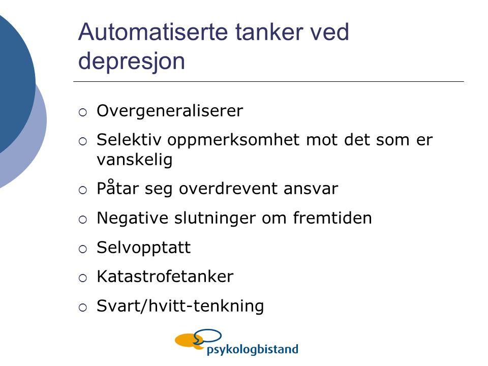 Automatiserte tanker ved depresjon