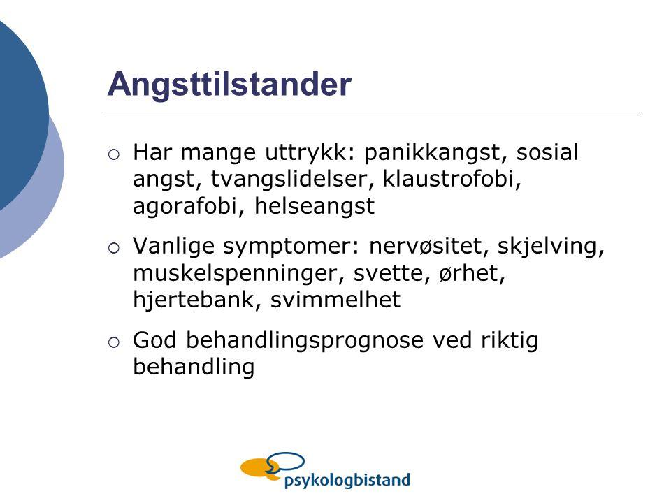 Angsttilstander Har mange uttrykk: panikkangst, sosial angst, tvangslidelser, klaustrofobi, agorafobi, helseangst.