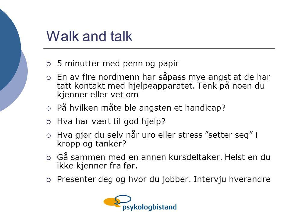 Walk and talk 5 minutter med penn og papir