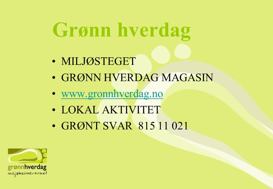 Grønn hverdag MILJØSTEGET GRØNN HVERDAG MAGASIN www.gronnhverdag.no