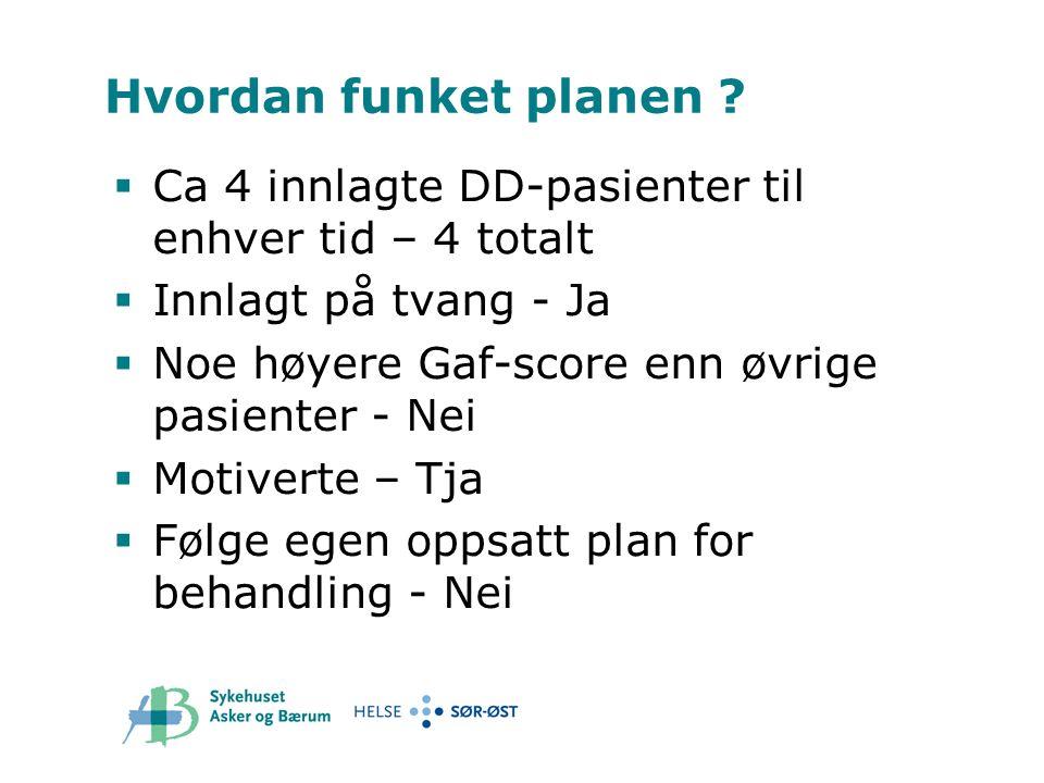 Hvordan funket planen Ca 4 innlagte DD-pasienter til enhver tid – 4 totalt. Innlagt på tvang - Ja.