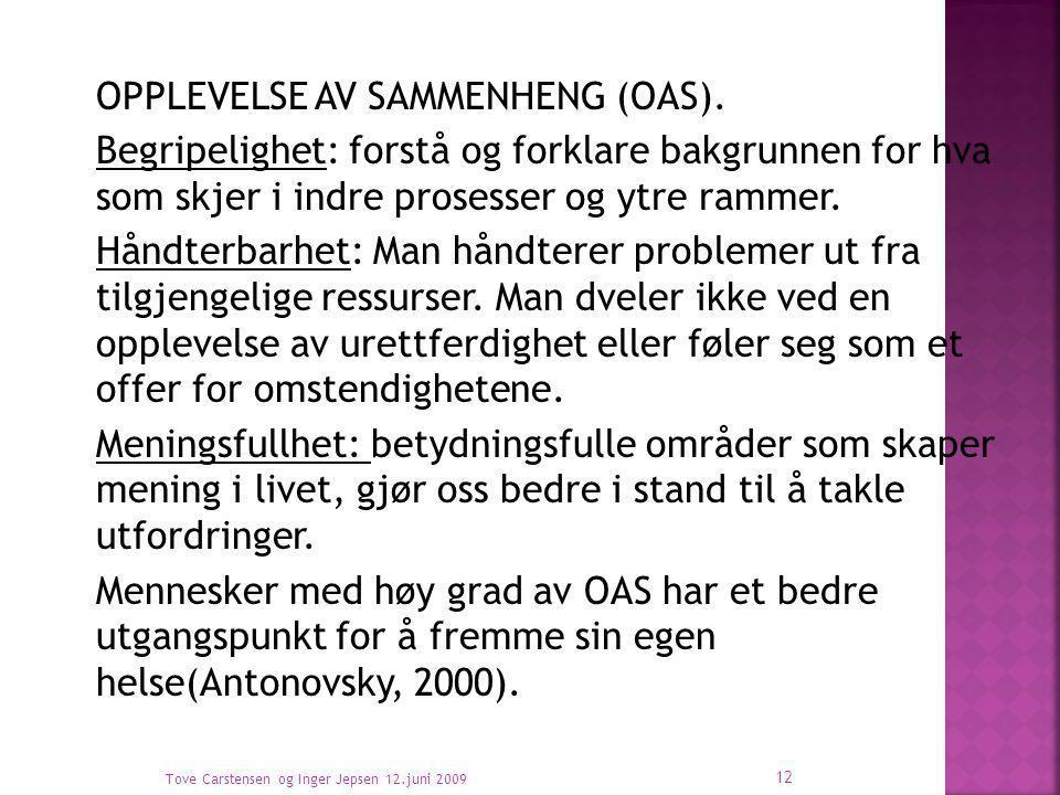 OPPLEVELSE AV SAMMENHENG (OAS).