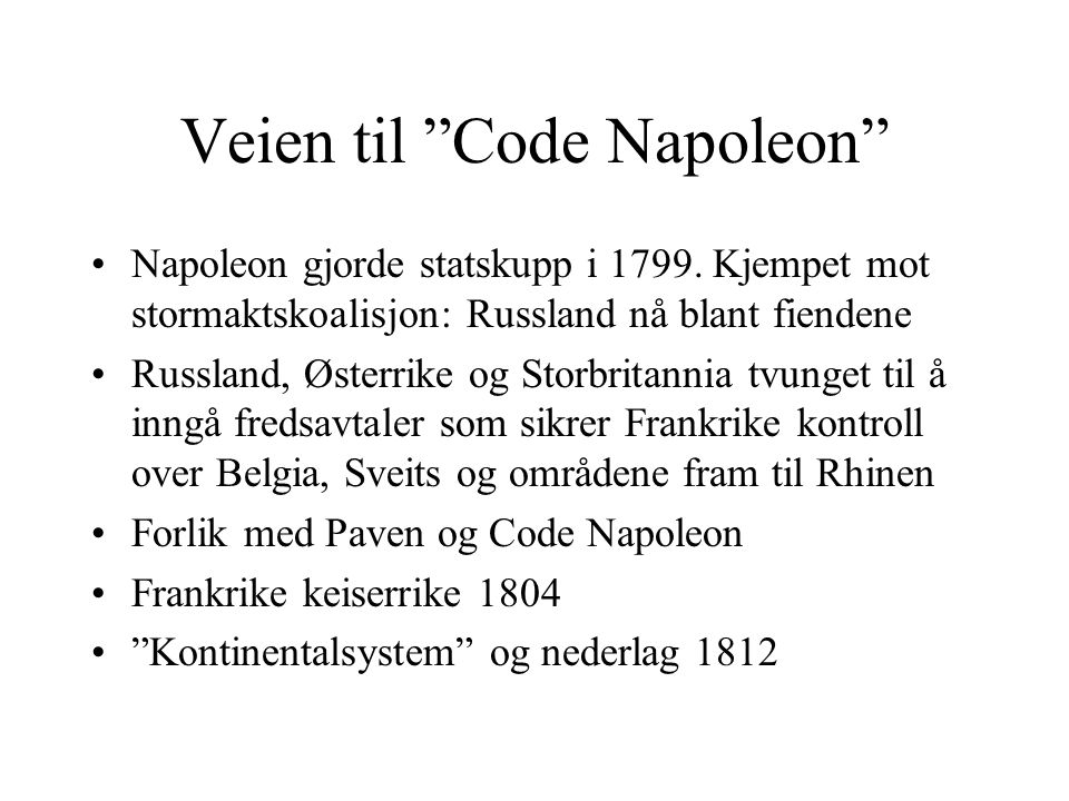 Veien til Code Napoleon