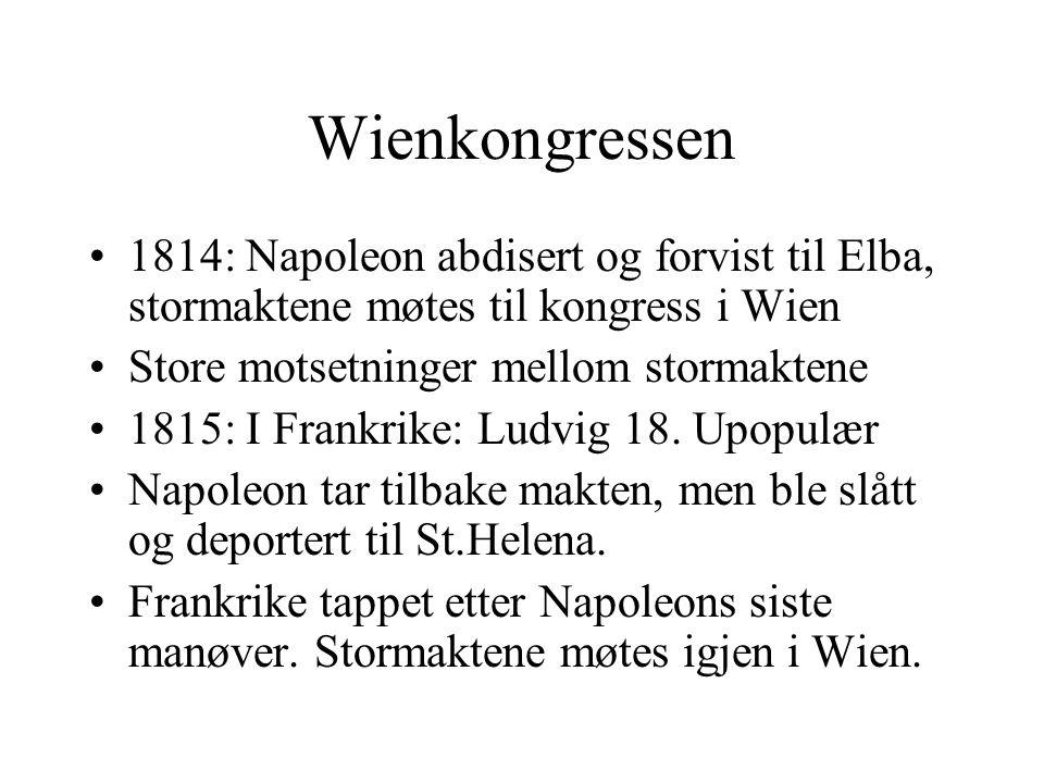 Wienkongressen 1814: Napoleon abdisert og forvist til Elba, stormaktene møtes til kongress i Wien. Store motsetninger mellom stormaktene.