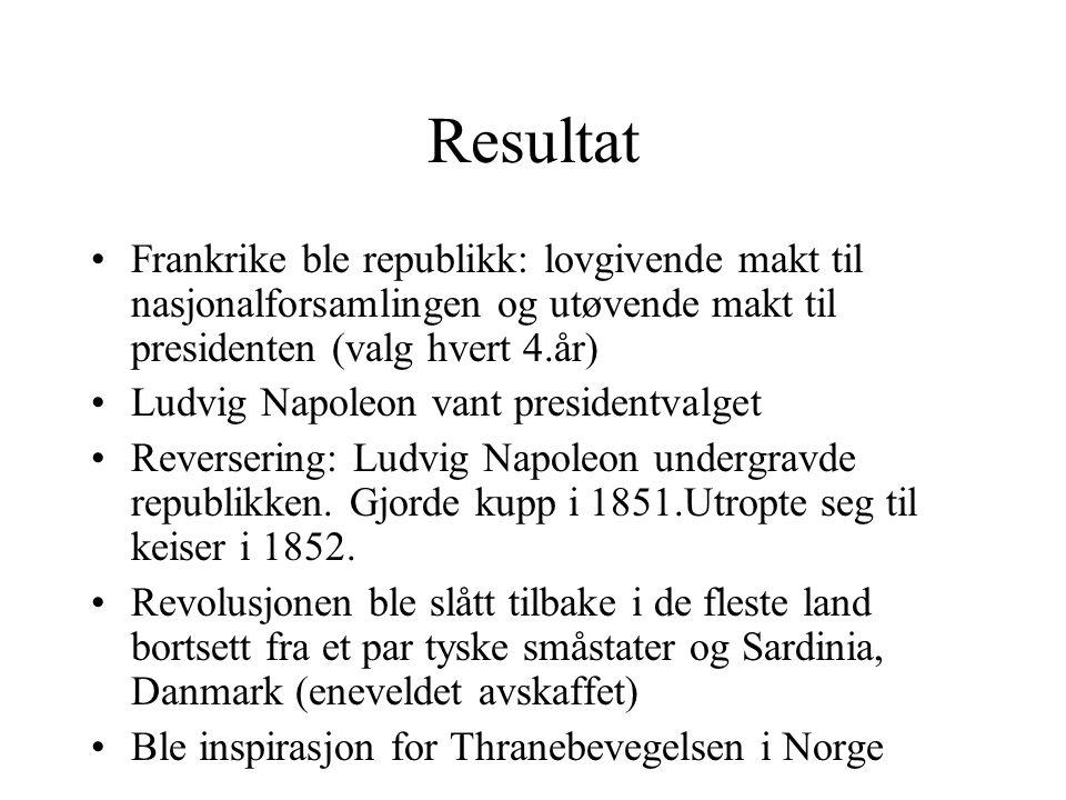 Resultat Frankrike ble republikk: lovgivende makt til nasjonalforsamlingen og utøvende makt til presidenten (valg hvert 4.år)