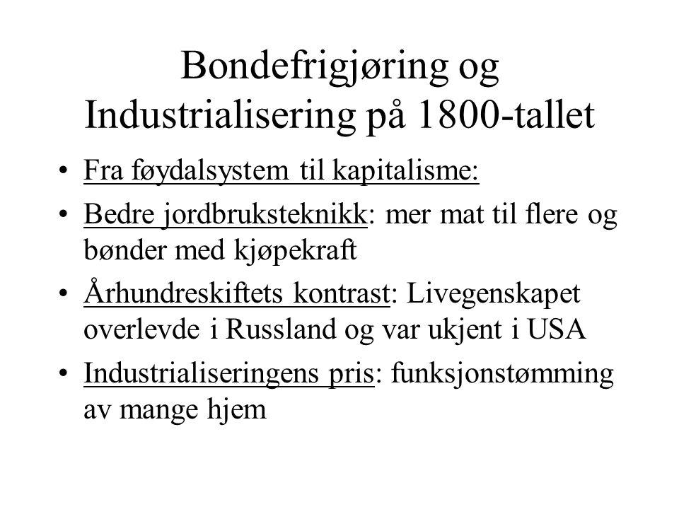 Bondefrigjøring og Industrialisering på 1800-tallet