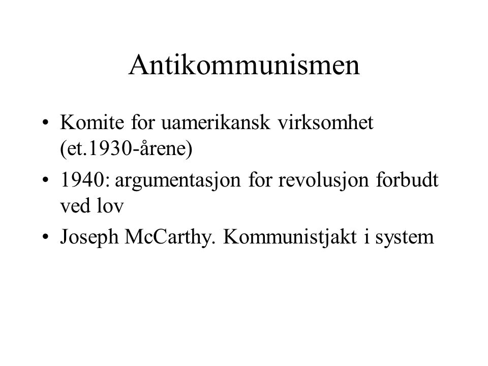Antikommunismen Komite for uamerikansk virksomhet (et.1930-årene)