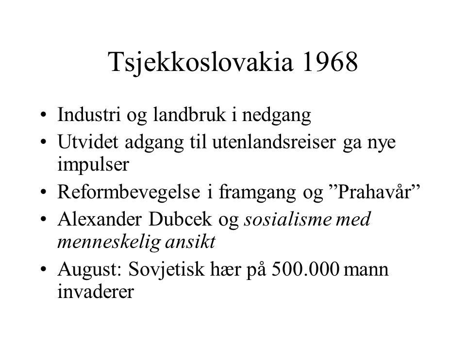 Tsjekkoslovakia 1968 Industri og landbruk i nedgang