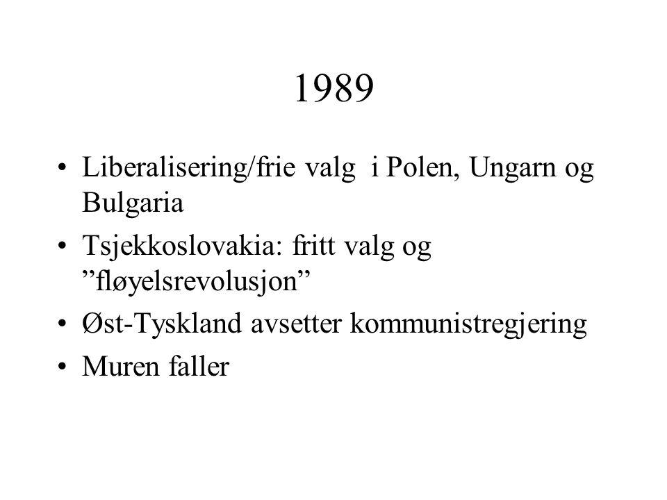 1989 Liberalisering/frie valg i Polen, Ungarn og Bulgaria