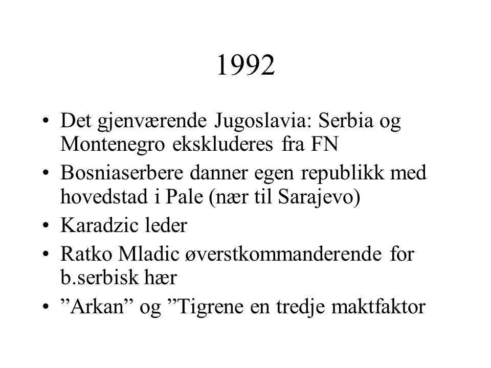 1992 Det gjenværende Jugoslavia: Serbia og Montenegro ekskluderes fra FN.