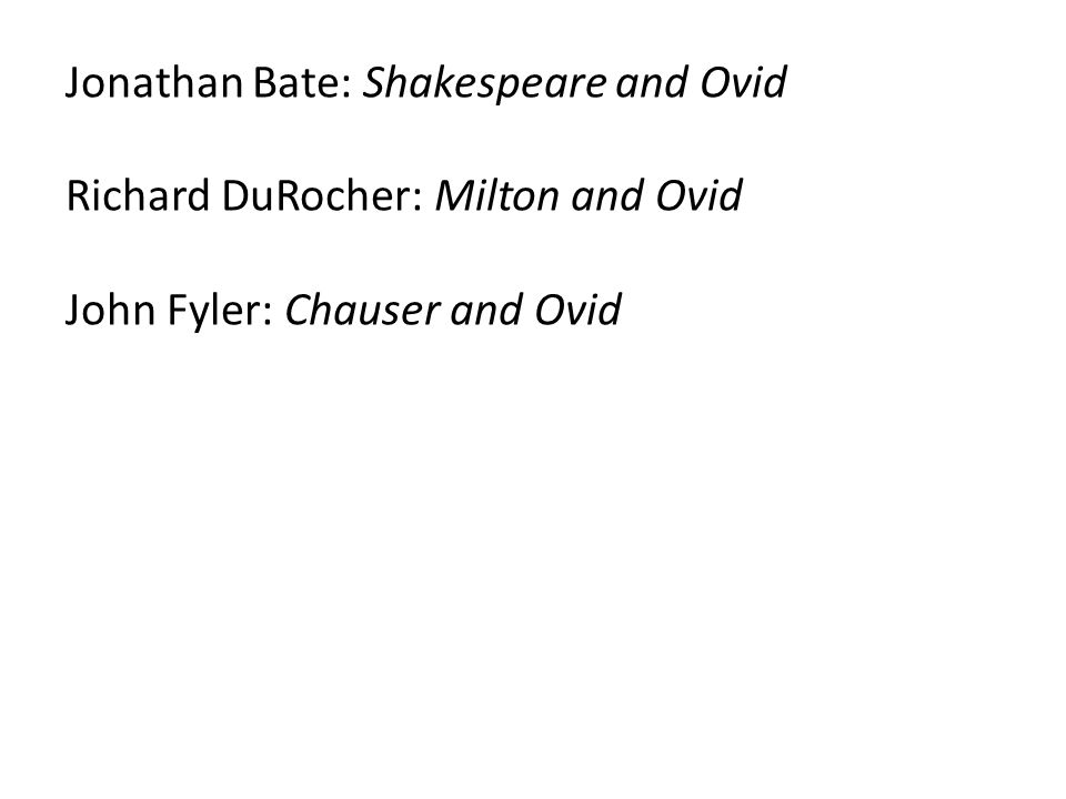 Jonathan Bate: Shakespeare and Ovid