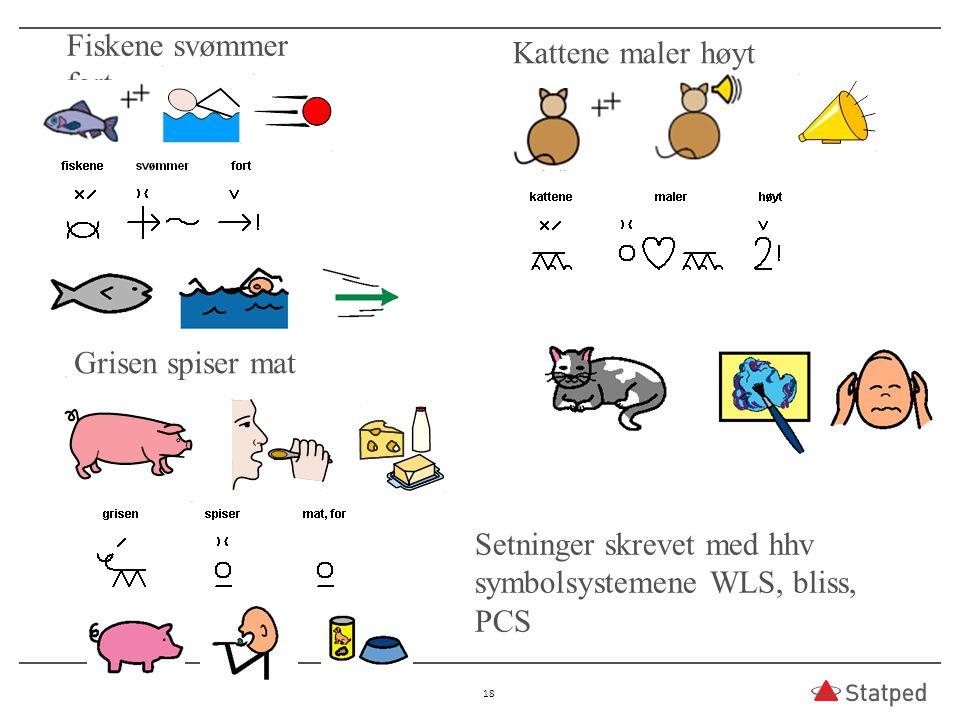 Setninger skrevet med hhv symbolsystemene WLS, bliss, PCS