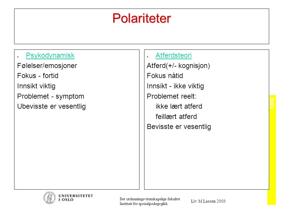 Sentrale retninger Psykoanalysen: Fokus på det indre; atferden en følge av indre krefter.