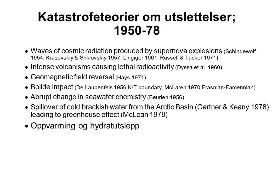 Katastrofeteorier om utslettelser; 1950-78