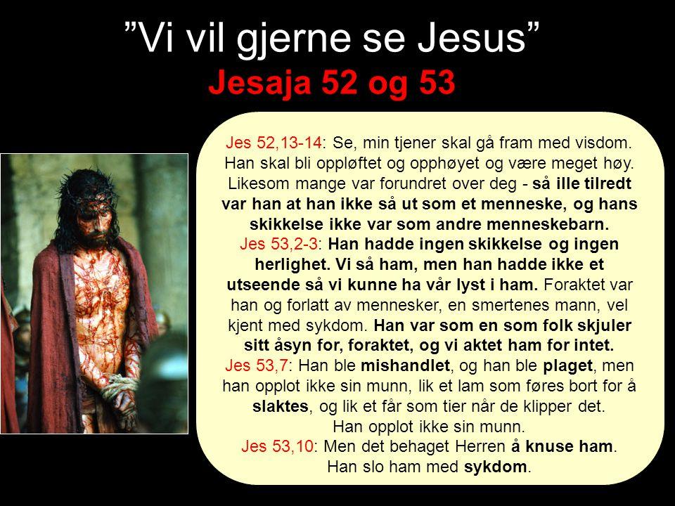 Vi vil gjerne se Jesus Jesaja 52 og 53