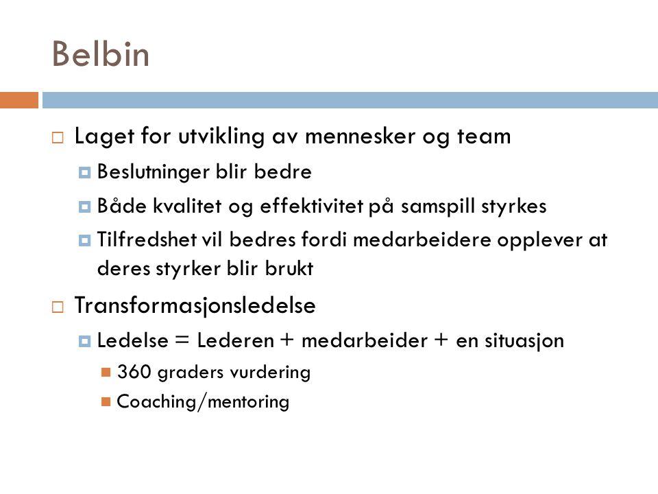 Belbin Laget for utvikling av mennesker og team Transformasjonsledelse