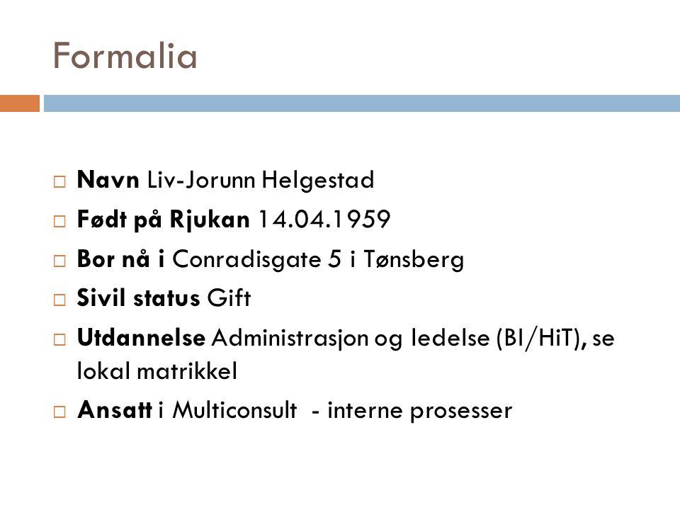Formalia Navn Liv-Jorunn Helgestad Født på Rjukan 14.04.1959
