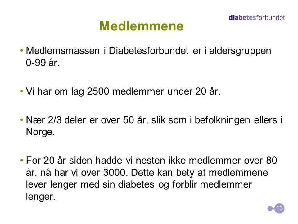 Medlemmene Medlemsmassen i Diabetesforbundet er i aldersgruppen 0-99 år. Vi har om lag 2500 medlemmer under 20 år.