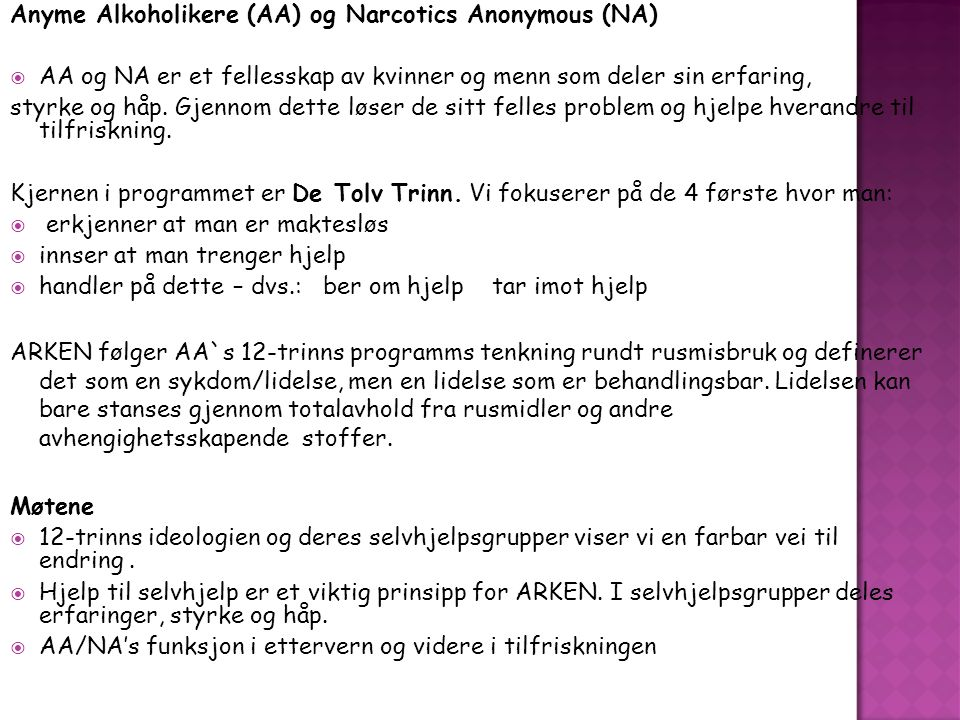Anyme Alkoholikere (AA) og Narcotics Anonymous (NA)
