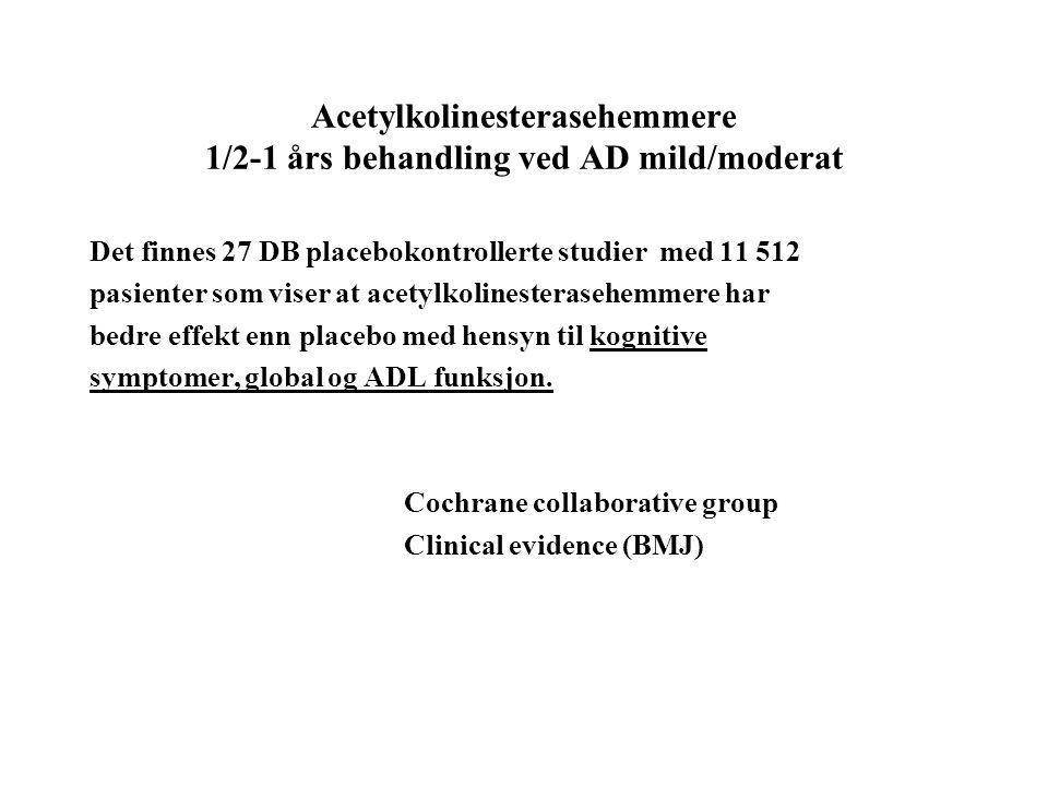 Acetylkolinesterasehemmere 1/2-1 års behandling ved AD mild/moderat