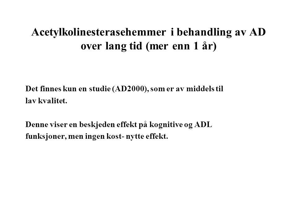 Acetylkolinesterasehemmer i behandling av AD over lang tid (mer enn 1 år)