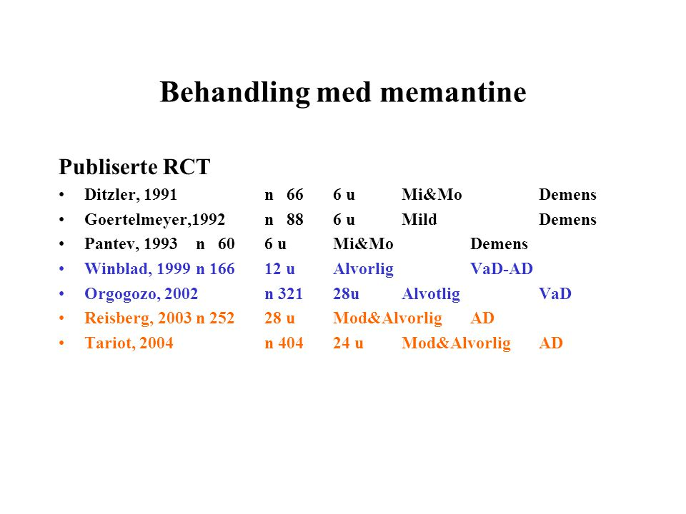 Behandling med memantine