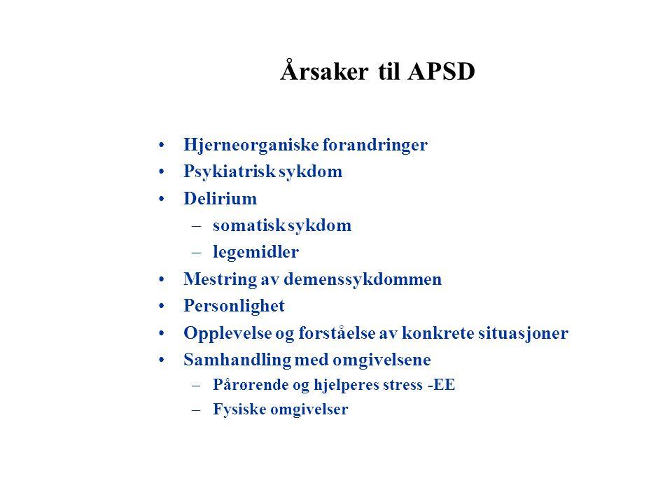 Årsaker til APSD Hjerneorganiske forandringer Psykiatrisk sykdom