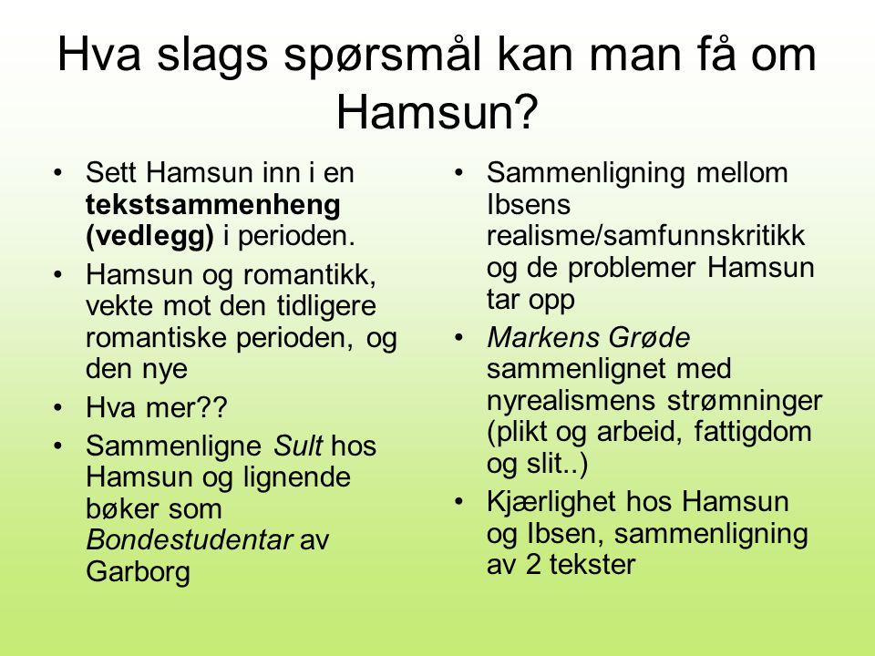 Hva slags spørsmål kan man få om Hamsun