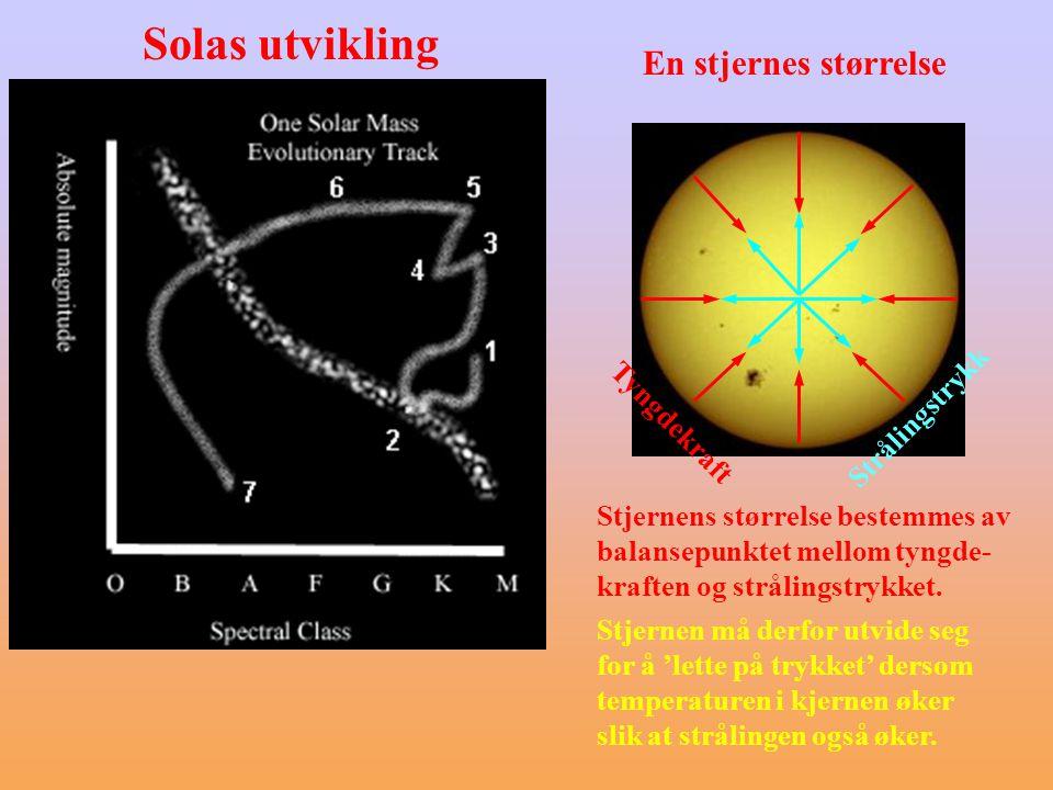 Solas utvikling En stjernes størrelse Strålingstrykk Tyngdekraft