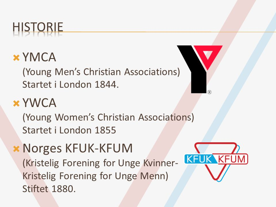 Historie YMCA (Young Men's Christian Associations) Startet i London 1844. YWCA (Young Women's Christian Associations) Startet i London 1855.