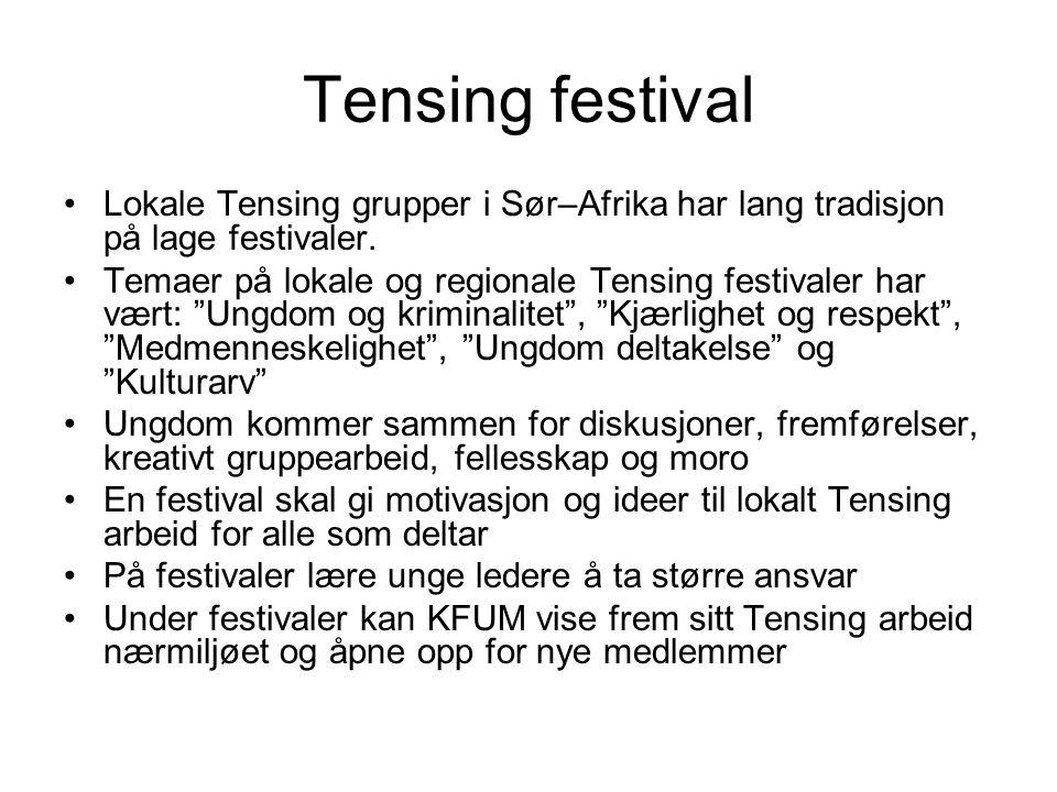 Tensing festival Lokale Tensing grupper i Sør–Afrika har lang tradisjon på lage festivaler.