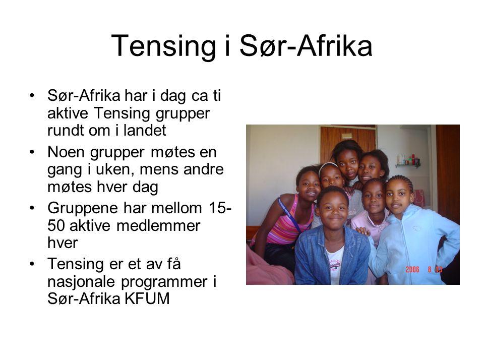 Tensing i Sør-Afrika Sør-Afrika har i dag ca ti aktive Tensing grupper rundt om i landet.
