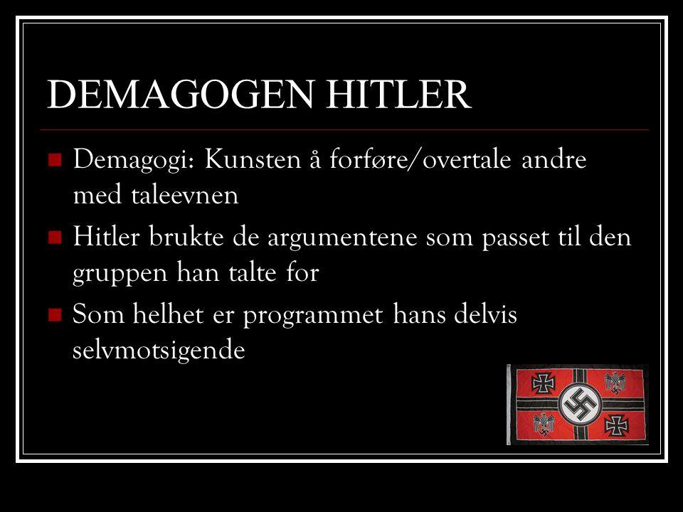 DEMAGOGEN HITLER Demagogi: Kunsten å forføre/overtale andre med taleevnen. Hitler brukte de argumentene som passet til den gruppen han talte for.