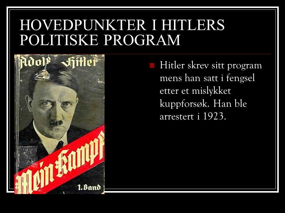 HOVEDPUNKTER I HITLERS POLITISKE PROGRAM