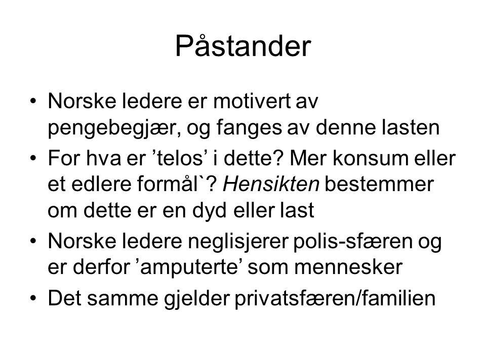 Påstander Norske ledere er motivert av pengebegjær, og fanges av denne lasten.